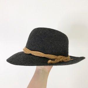 Gray Wool Twisted Rope Fedora Hat Vintage Felt